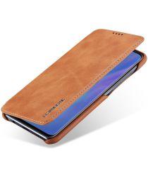 Huawei P30 Lite Portemonnee Bookcase Hoesje met Kaarthouder Bruin