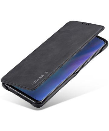 Huawei P30 Pro Retro Portemonnee Bookcase Hoesje Zwart Hoesjes
