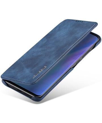Huawei P30 Pro Retro Portemonnee Bookcase Hoesje Blauw Hoesjes