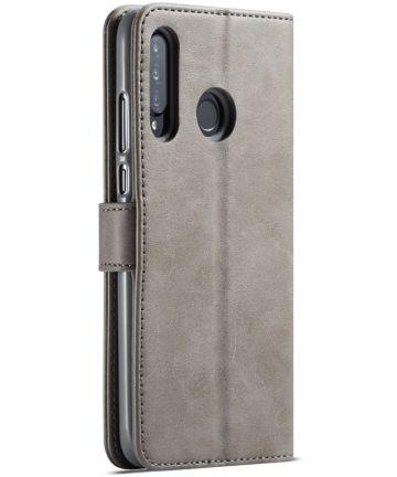 Huawei P30 Lite Portemonnee Bookcase Hoesje Magneet Sluiting Grijs Hoesjes