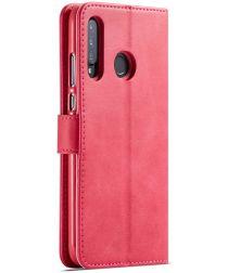 Huawei P30 Lite Portemonnee Bookcase Hoesje met Magneet Sluiting Rood