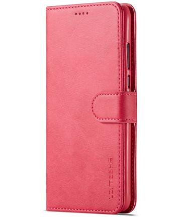Huawei P30 Lite Portemonnee Bookcase Hoesje Magneet Sluiting Rood Hoesjes