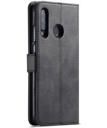 Huawei P30 Lite Portemonnee Bookcase Hoesje Magneet Sluiting Zwart