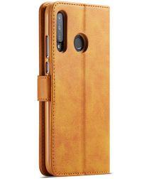 Huawei P30 Lite Portemonnee Bookcase Hoesje Magneet Sluiting Bruin
