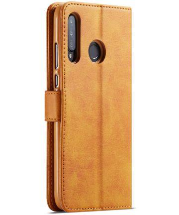 Huawei P30 Lite Portemonnee Bookcase Hoesje Magneet Sluiting Bruin Hoesjes