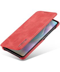Huawei P30 Retro Style Kaarthouder Bookcase Hoesje Rood