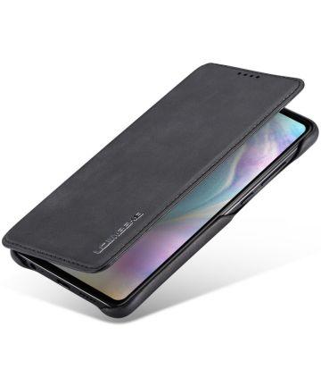 Huawei P30 Retro Style Kaarthouder Bookcase Hoesje Zwart Hoesjes