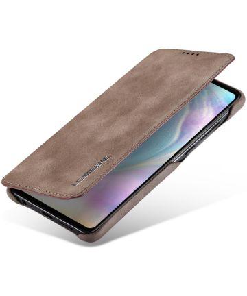 Huawei P30 Retro Style Kaarthouder Bookcase Hoesje Coffee Hoesjes