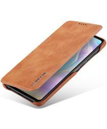 Huawei P30 Retro Style Kaarthouder Bookcase Hoesje Bruin