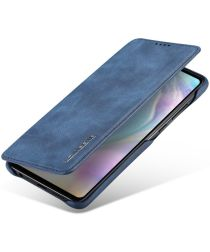 Huawei P30 Retro Style Kaarthouder Bookcase Hoesje Blauw