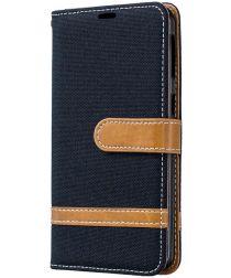 Samsung Galaxy A40 Jeans Portemonnee Hoesje Zwart