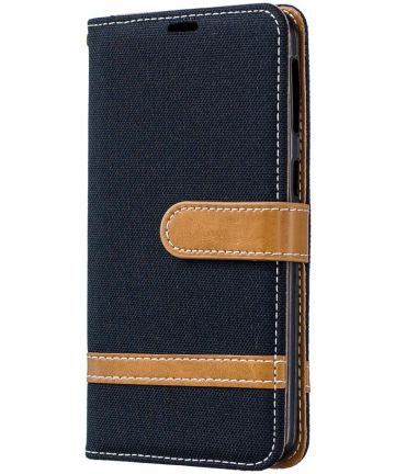 Samsung Galaxy A40 Jeans Portemonnee Hoesje Zwart Hoesjes