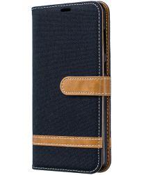 Samsung Galaxy A70 Jeans Portemonnee Hoesje Zwart