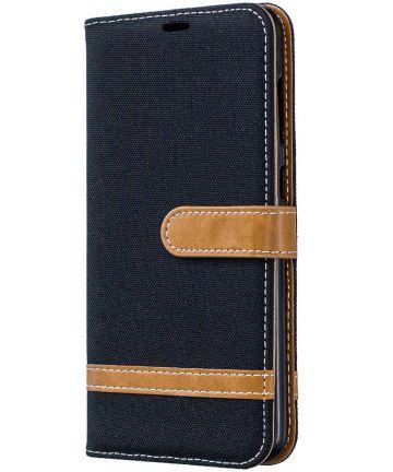 Samsung Galaxy A70 Jeans Portemonnee Hoesje Zwart Hoesjes