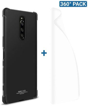 IMAK Sony Xperia 1 Hoesje TPU met Screenprotector Metaal Zwart Hoesjes