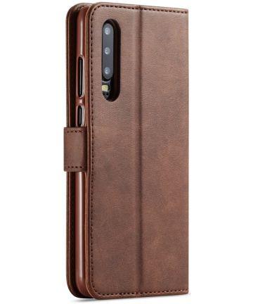 Huawei P30 Stand Portemonnee Bookcase Hoesje Coffee Hoesjes