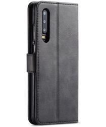 Huawei P30 Stand Portemonnee Bookcase Hoesje Zwart