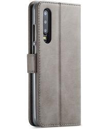 Huawei P30 Stand Portemonnee Bookcase Hoesje Grijs