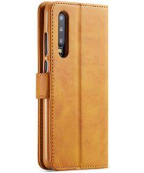 Huawei P30 Stand Portemonnee Bookcase Hoesje Bruin