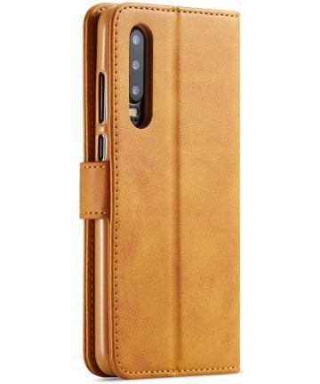 Huawei P30 Stand Portemonnee Bookcase Hoesje Bruin Hoesjes