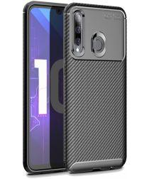 Huawei P Smart Plus (2019) Siliconen Carbon Hoesje Zwart