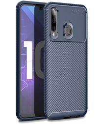 Huawei P Smart Plus (2019) Siliconen Carbon Hoesje Blauw