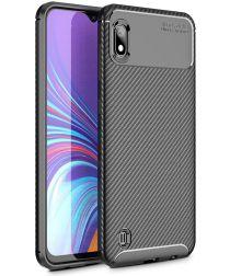 Samsung Galaxy A10 Siliconen Carbon Hoesje Zwart