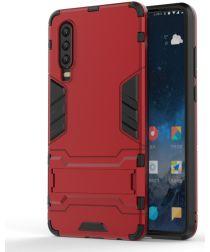 Huawei P30 Hybride Kickstand Hoesje Rood