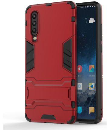 Huawei P30 Hybride Kickstand Hoesje Rood Hoesjes
