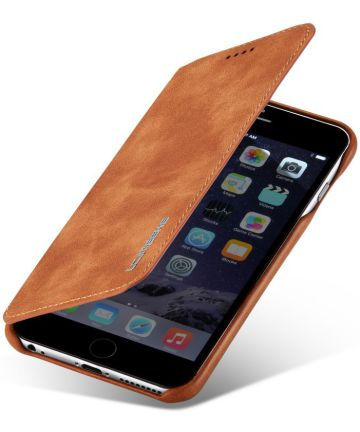 Apple iPhone 6S Plus Retro Style Book Case Kaarthouder Hoesje Bruin Hoesjes