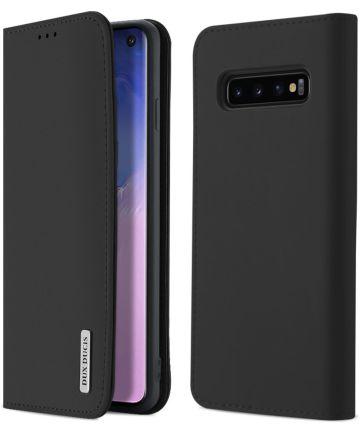 Dux Ducis Luxe Book Case Samsung Galaxy S10 Hoesje Echt Leer Zwart