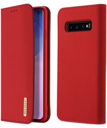 Dux Ducis Luxe Book Case Samsung Galaxy S10 Hoesje Echt Leer Rood Hoesjes