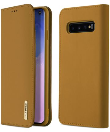 Dux Ducis Luxe Book Case Samsung Galaxy S10 Hoesje Echt Leer Khaki Hoesjes