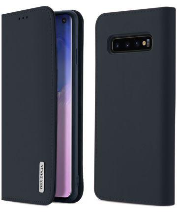 Dux Ducis Luxe Book Case Samsung Galaxy S10 Hoesje Echt Leer Blauw
