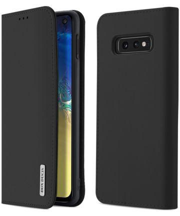Dux Ducis Luxe Book Case Samsung Galaxy S10E Hoesje Echt Leer Zwart Hoesjes