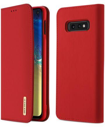 Dux Ducis Luxe Book Case Samsung Galaxy S10E Hoesje Echt Leer Rood Hoesjes