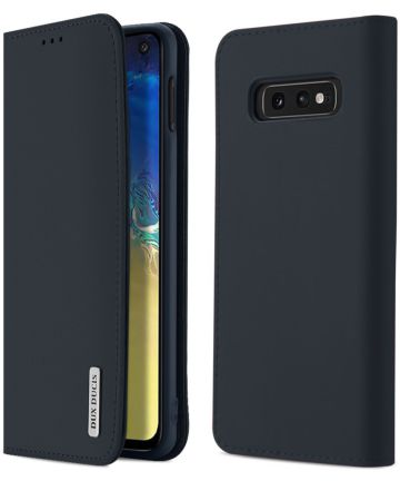Dux Ducis Luxe Book Case Samsung Galaxy S10E Hoesje Echt Leer Blauw