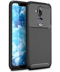 Nokia 8.1 Siliconen Carbon Hoesje Zwart
