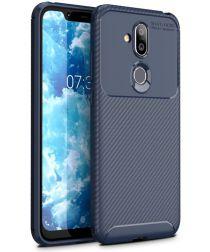 Nokia 8.1 Siliconen Carbon Hoesje Blauw