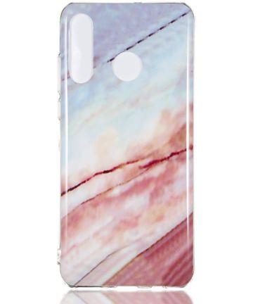 Huawei P30 Lite TPU Hoesje met Marmer Opdruk Roze Hoesjes