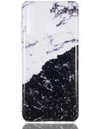 Huawei P30 Lite TPU Hoesje met Marmer Opdruk Zwart / Wit