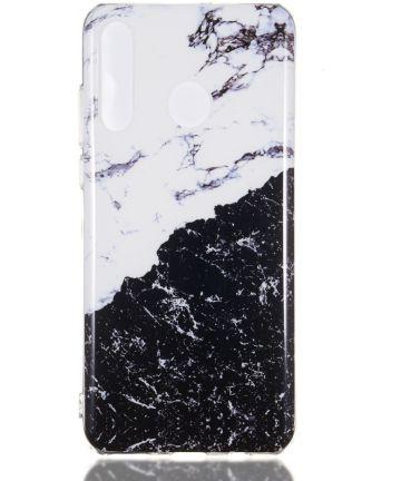 Huawei P30 Lite TPU Hoesje met Marmer Opdruk Zwart / Wit Hoesjes