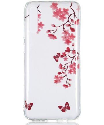 Samsung Galaxy A70 Transparant TPU Hoesje met Bloemen Print Hoesjes
