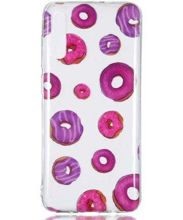 Samsung Galaxy A70 Transparant TPU Hoesje met Donut Print Hoesjes