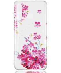 Huawei P30 Lite Transparant TPU Hoesje met Bloemen Print