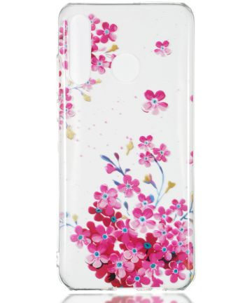 Huawei P30 Lite Transparant TPU Hoesje met Bloemen Print Hoesjes