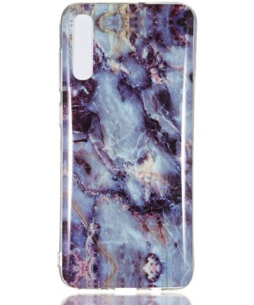 Samsung Galaxy A70 TPU Back Cover met Marmer Print Blauw Paars Hoesjes