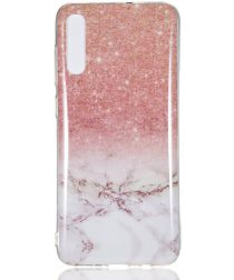 Samsung Galaxy A70 TPU Back Cover met Marmer Print Roze