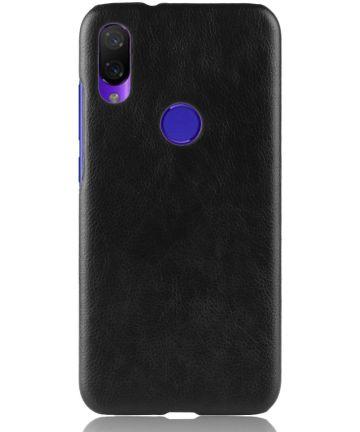 Xiaomi Redmi 7 Hoesje met Kunstleer Coating Zwart Hoesjes