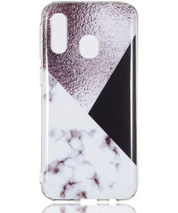 Samsung Galaxy A40 TPU Hoesje met Marmer Opdruk Bruin Hoesjes